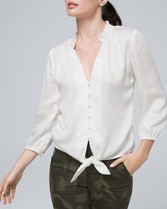 Button-Front Blouse with Tie Waist - Shop New Arrivals in Women's Polished Casual Clothing - White House Black Market Polished Casual, Black House, Well Dressed, Casual Outfits, Feminine, Pretty, Covered Buttons, Tie, Clothes