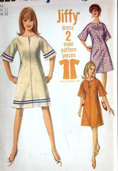 1960s Misses A Line Jiffy Dress Vintage Sewing Patter, Fall Fashion, Bell Sleeves, Simplicity 6628 bust 32
