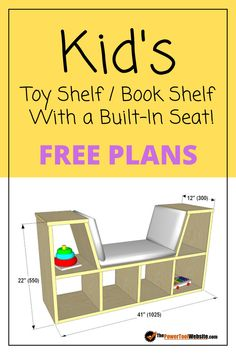 And Book Case Project Plans Free plans for a plywood construction children's toy shelf / book shelf with a seat built in for reading. Beginner woodworking project uses plywood, edge banding, dados, and pocket hole joinery. Beginner Woodworking Projects, Woodworking Toys, Popular Woodworking, Kids Woodworking Projects, Woodworking Power Tools, Unique Woodworking, Woodworking Furniture, Furniture Plans, Kids Furniture