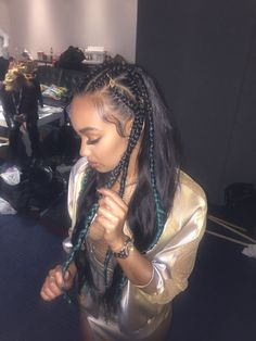Braids for Days One of my favourite hair styles to date! We went all out for the Brits! Loved the gold hair rings and the ombré green plaits!