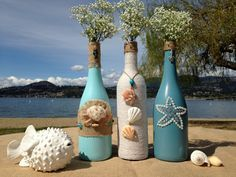 Beach Weddings. Painted Wine Bottles. por WineCountryAccents