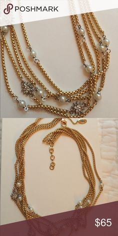 Gold silver and pearl necklace Amrita Singh Sonia collar necklace Amrita Singh Jewelry Necklaces