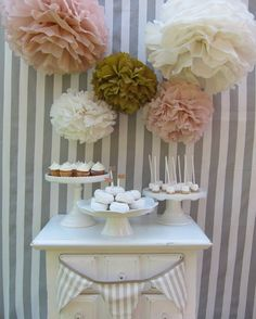 Melanie Collection 5 pom poms blush and gold by PaperwhiteDesigns