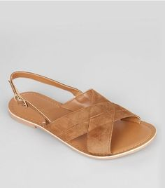 3829236bf204 Tan Suede Cross Strap Sandals