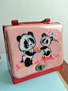 Vintage Japan Retro Cute Panda Purse Case in Red