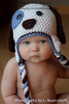 Patchy Puppy Hat Pattern in UK or US Terms - Crochet Pattern Number 18 - Beanie and Earflap Pattern - Newborn to Adult Sizes Included. $3.25, via Etsy.