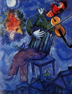 The Blue Violinist Marc Chagall (Ecole de Paris, abstract, Oil on canvas. Chagall incorporated a number of century modern art movements into his work to give us a portrayal from multiple angles resulting in a personal. Marc Chagall, Artist Chagall, Chagall Paintings, Illustration Art, Illustrations, Jewish Art, French Artists, Oeuvre D'art, Modern Art