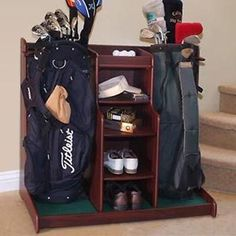 Double Golf Bag Storage Rack Garage Caddy Organizer Golf Balls Shoes Wood Cart | eBay