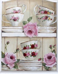 Original Gail McCormack painting on door Shabby Chic Painting, Shabby Chic Decor, Tole Painting, Painting On Wood, Shabby Flowers, Tea Art, Decoupage Paper, Vintage Images, Original Paintings