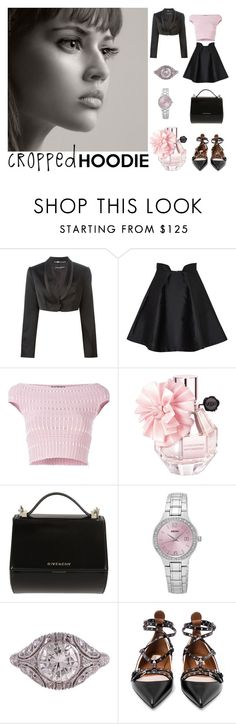 """CROPPED Hoodie"" by sanskrit7 ❤ liked on Polyvore featuring Dolce&Gabbana, Paper London, Alexander McQueen, Givenchy, Seiko and Valentino"