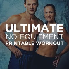 ♛ Ultimate At-Home No Equipment Workout Plan for Men & Women – Need a good full-body home-based workout that doesn't require gym equipment? Try this intense two-page bodyweight workout that you can do anywhere!