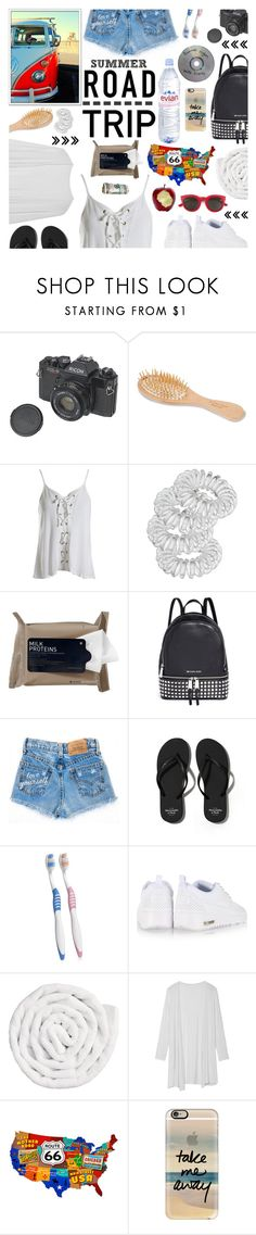"""Summer Road trip"" by giogiota ❤ liked on Polyvore featuring Urban Spa, Sans Souci, Miss Selfridge, Korres, Michael Kors, Abercrombie & Fitch, Evian, NIKE, VIPP and Casetify"