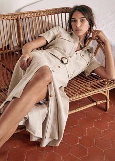 Jeannette Dress - Beige - Linen - Sézane Transport Routier, Dress Skirt, Shirt Dress, Union Made, Beige, Shopping Lists, Parisian Style, Fashion Forward, Work Wear
