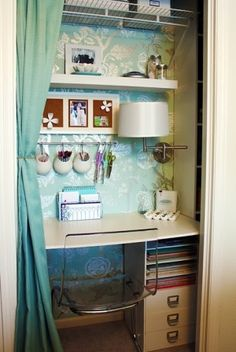 craft closet... love the chair. Where is that old swing arm lamp I had?