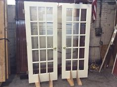 "Almost like new french door set! Magnificent Condition painted wooden doors with hardware. Dimensions: 60"" W x 79 3/4"" H"