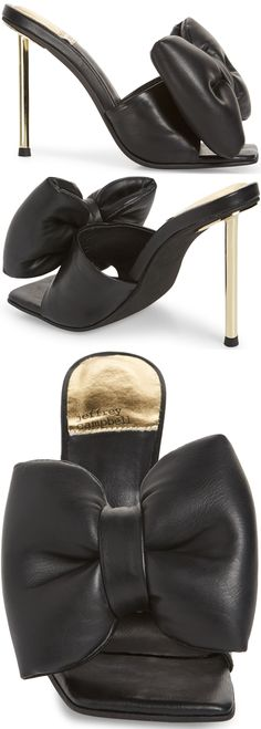 An industrial stiletto brings sharp elevation to this chic slide sandal with an exaggerated bow detail and cushioning at the heel. Embellished Sandals, Studded Sandals, Ankle Strap Sandals, Slide Sandals, Balmain Boots, Hiking Fashion, Open Toe Booties, Womens High Heels, Jeffrey Campbell