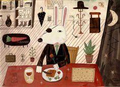 獨眼兔-1 by Hom平常心, via Flickr anti easter card,easter bunny turns eye patched monopoly mogul in the easter egg trade,hell break your legs if you undercut his bunny chocolate egg goodness
