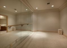 Ballet room complete with mirror located in house in Las Vegas, Nevada, now selling for about two million dollars. ...I love this! I could even make my bed in my closet and do something like this!!!