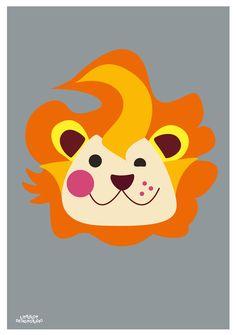 Childrens poster Løve, Lion poster, 50x70 cm. Designed by Charlotte Søeborg Ohlsen, Littlelot Designstudio