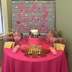 Dessert table at a Kate Spade baby shower party! See more party ideas at CatchMyParty.com!