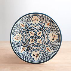 """so pretty!  Tunisian inspired plates to go in our travel trunk bar.  8"""" Teal Soukra Salad Plate 