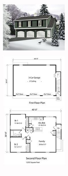 Garage Apartment Plan 49029 | Total Living Area: 1032 sq. ft., 2 bedrooms and 1 bathroom.   The upper level apartment has everything for comfortable living. Both bedrooms have plenty of closet space and share a full bath. The spacious family room adjoins the kitchen/breakfast area with eating bar. #carriagehouse