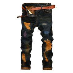 $36.58 (Buy here - https://alitems.com/g/1e8d114494b01f4c715516525dc3e8/?i=5&ulp=https%3A%2F%2Fwww.aliexpress.com%2Fitem%2Fmen-s-jeans-High-quality-hole-Casual-Biker-Jean-Pants-ripped-jeans-Brand-men-hiphop-pants%2F32765943990.html) Men's High quality hole Casual Biker Jeans homme Brand hiphop Straight mens jeans denim trousers pants ripped skinny jeans men