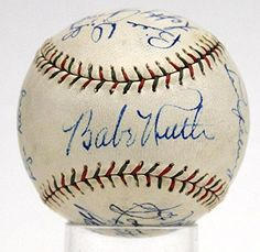 Babe Ruth Lou Gehrig 1934 Yankees Tm Signed Autographed Baseball 7.5 Jsa - PSA/DNA Certified - Autographed Baseballs >>> Details can be found by clicking on the image.