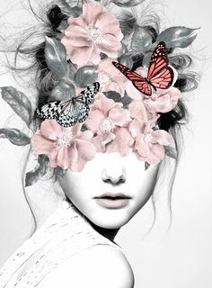 'woman with flowers girl, portrait, butterflies, mixed media collage art print Flower Collage, Flower Art, Mixed Media Photography, Art Photography, Collage Portrait, Portraits, Collage Art Mixed Media, Mixed Media Painting, Girls With Flowers