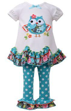Amazon.com: Bonnie Jean Girls Aqua OWL Applique Leggings outfit: Clothing