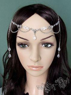 Floral Crystal Renaissance Medieval Circlet Headpiece Headdress Wedding First Communion Bridal Prom