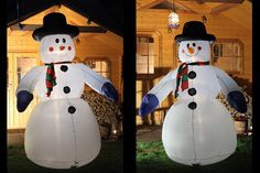 Aufblasbarer #Schneemann 240 cm als #Weihnachtsdekoration zu #Weihnachten. Lebensgroße, beleuchtete Weihnachtsfigur für den Weihnachtsmarkt, den Garten oder im Haus #Schneemann