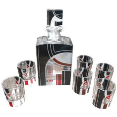 Modernist Czechoslovakia Art Deco Decanter Set by Karl Palda, 1930s