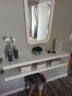 You simply need to make a make-up table yourself: IKEA LACK Shelves Cups A., simply need to make a make-up table yourself: IKEA LACK Shelves Cups A mirror A stool or a chair. Ikea Wall Shelves, Basket Shelves, Wood Shelves, Shelf Wall, Ikea Bedroom, Bedroom Decor, Bedroom Inspo, Ikea Lack Regal, Make Up Tisch