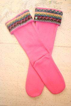 SLUGS Fleece Rain Boot Liners Pink with a Sweater by WithTheRain