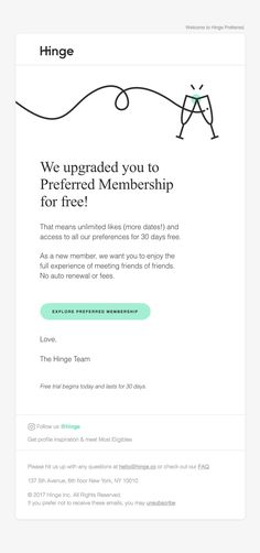 We upgraded you to Preferred for free! - Really Good Emails