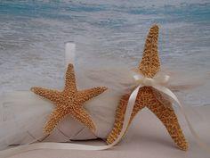 Starfish Flower Girl Basket & Ring Bearer Pillow Alternative - Beach Wedding  Tropical  Hawaii White Ivory Shabby Chic Flowergirl Pillow