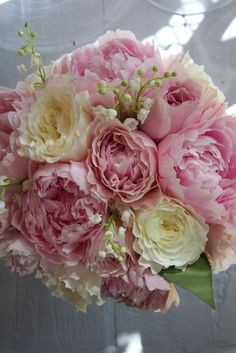 Bridal Bouquet of Pink Peonies, Patience Roses & Lily of the Valley
