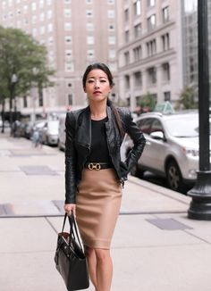 Fall work outfit: camel wool skirt + bell sleeve top - - black leather jacket classic petite fashion Source by EPStyle Classy Outfits For Women, Fall Outfits For Work, Spring Outfits, Clothes For Women, Work Clothes, Trendy Outfits, Cute Outfits, Sweater Outfits, Work Fashion
