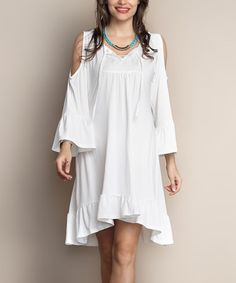 Look what I found on #zulily! White Front-Tie Cut-Out Dress - Plus #zulilyfinds