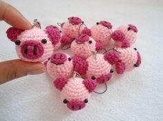10 X Schwein Schlüsselanhänger häkeln von suwannacraftshop auf Etsy