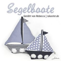 Segelboote z. aus altem Kopfkissen / Sailing boats partly made from old pillowcase / Upcycling Mehr