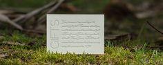 Modern letterpress printed gift card wording