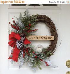 CHRISTMAS SALE-Christmas Wreath-Snowy Owl Wreath-Holiday Wreath-Winter Wreath-Regina's Garden Owl Wreath-Wooden Signs-Snowy Evergreen Wreath