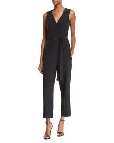 V-Neck+Sleeveless+Straight-Leg+Silk+Jumpsuit+by+Tibi+at+Bergdorf+Goodman.