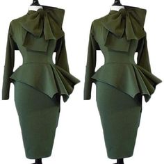 Bowtie embellished peplum army green dress