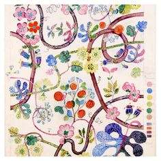 """This week, Svenskt Tenn re-launched Josef Frank's classic """"Baranquilla"""" print, here shown both as original sketch and finished textile result. #svenskttenn #svenskttenn_baranquilla"""
