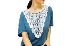 Statement Crochet Bib Necklace White High Society by HAREMDESIGN