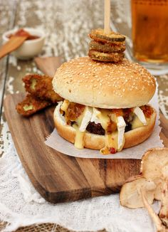 Mushroom Burger Topped with Brie, Zesty Relish & Deep Fried Sweet Pickles