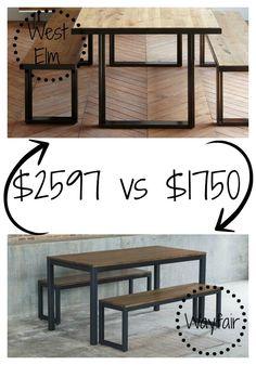 Decor Look Alikes | West Elm Industrial Oak & Steel Dining Set retails for $2597 vs $1740 @wayfair